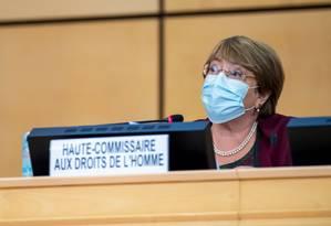 Michelle Bachelet, Alta Comissária da ONU para Direitos Humanos, durante discurso na abertura da sessão do Conselho de Direitos Humanos da ONU em Genebra Foto: MARTIAL TREZZINI / AFP