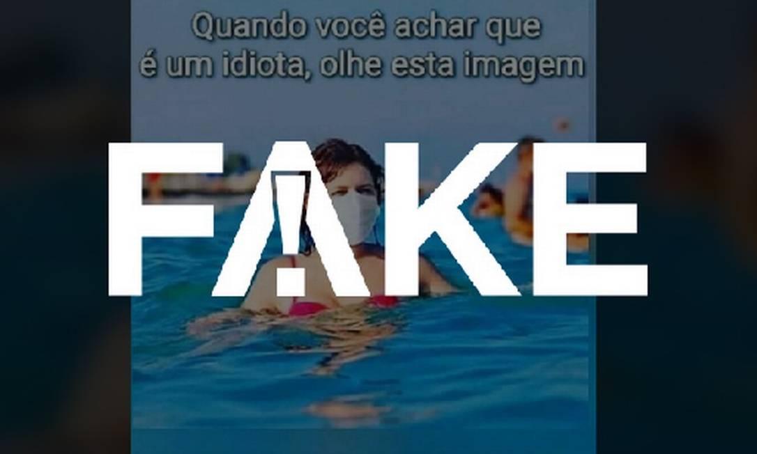 É #FAKE foto de banhista usando máscara de proteção contra o coronavírus durante mergulho Foto: Reprodução