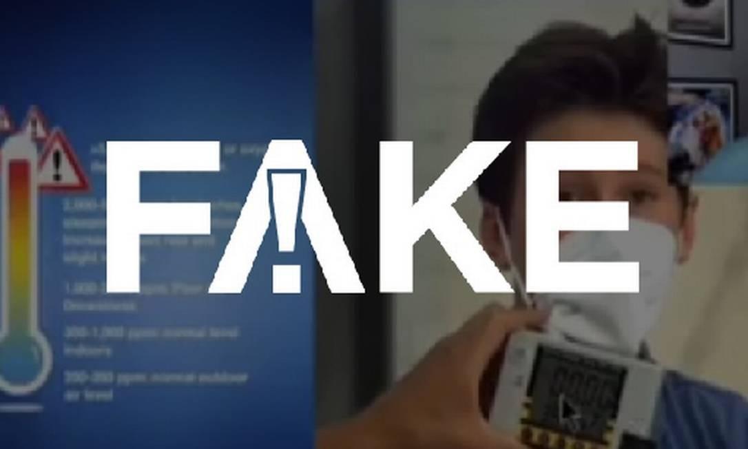 É #FAKE que uso de máscara eleva inalação de dióxido de carbono para nível acima do suportado pelo organismo humano Foto: Reprodução