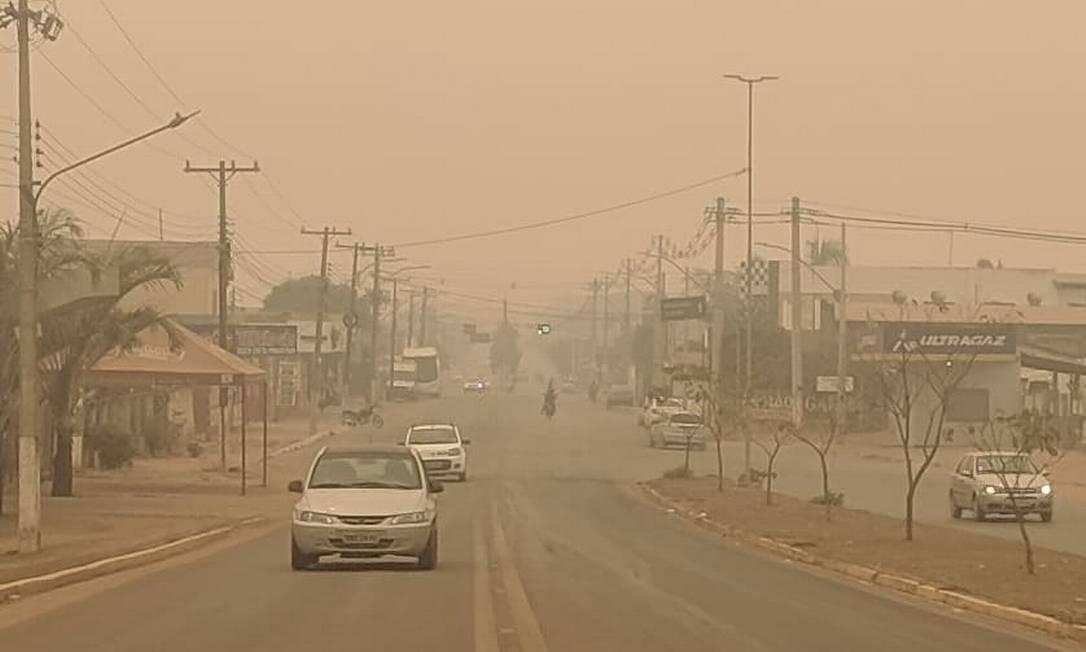 A fumaça no município de Cáceres Foto: Divulgação/Prefeitura