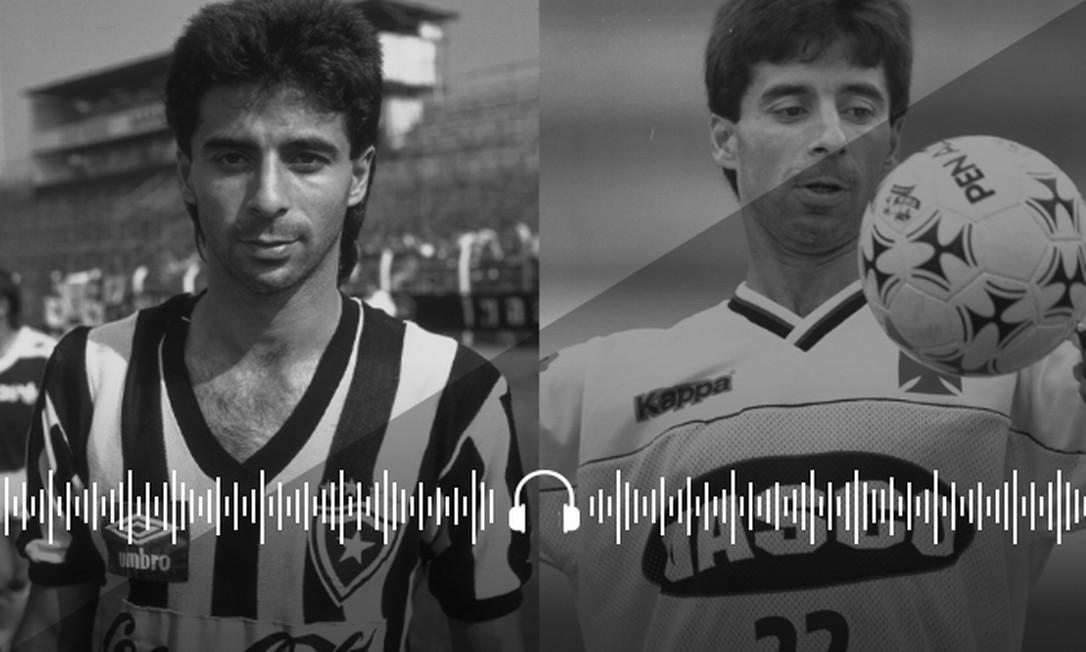 Mauro Galvão jogando pelo Botafogo e Vasco Foto: Arte sobre foto de divulgação e de Sérgio Borges