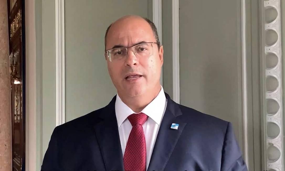 Wilson Witzel chegou a gravar um vídeo de apelo aos deputados da Alerj contra o impeachment Foto: Reprodução 16-10-2020