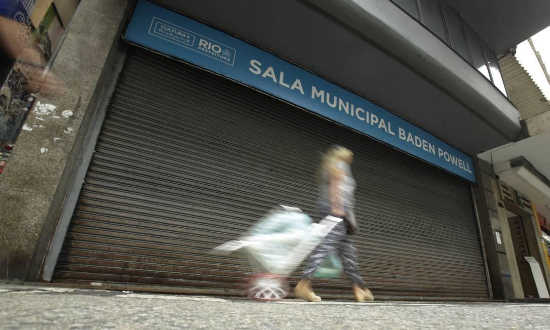Sala Baden Powell, em Copacabana. De portas fechadas, contrato de aluguel foi suspenso em maio, devido à pandemia Foto: ANTONIO SCORZA / Agência O Globo