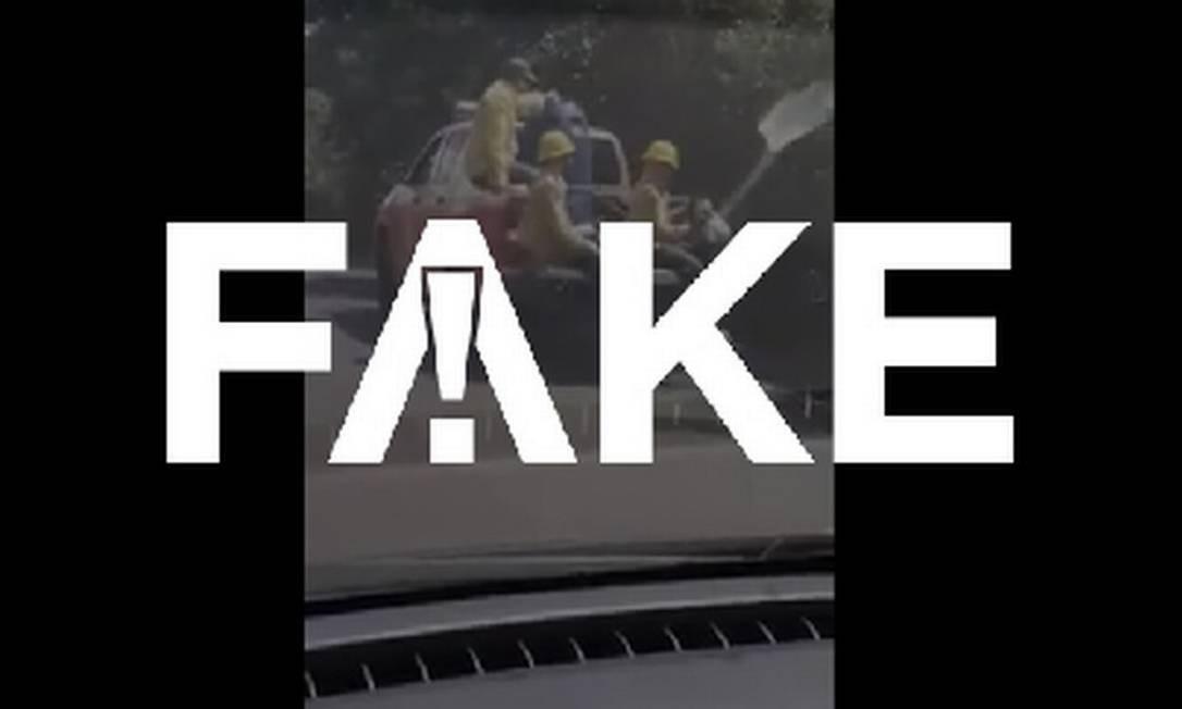 É #FAKE que vídeo mostre brigadistas do ICMBio provocando queimada criminosa em reserva no Pantanal Foto: Reprodução