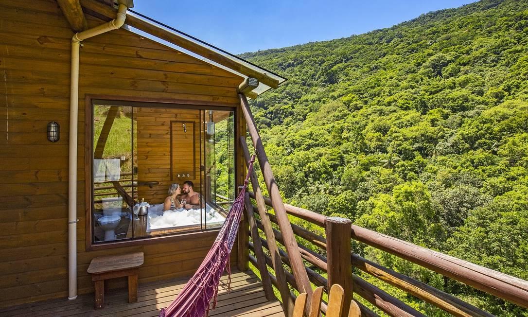 Uma das cabanas para glamping no Cachoeira dos Borges, no Rio Grande do Sul Foto: Divulgação