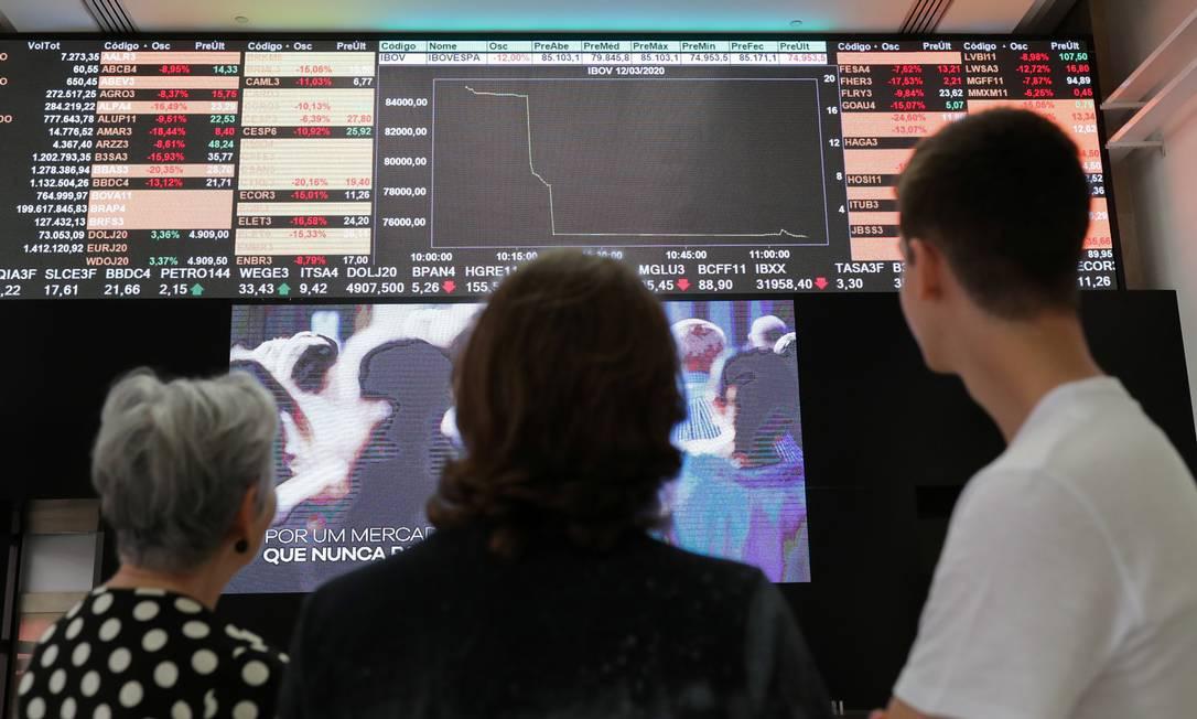 Painel eletrônico da Bolsa de São Paulo, a B3 Foto: AMANDA PEROBELLI / Reuters/12-3-2020