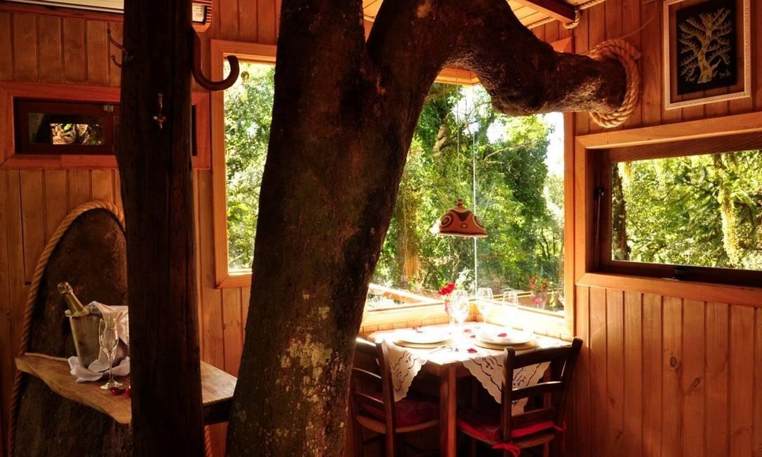 A cabana na árvore da Pousada do Engenho, em São Francisco de Paula, vizinha de Gramado e Canela, no Rio Grande do Sul Foto: Divulgação