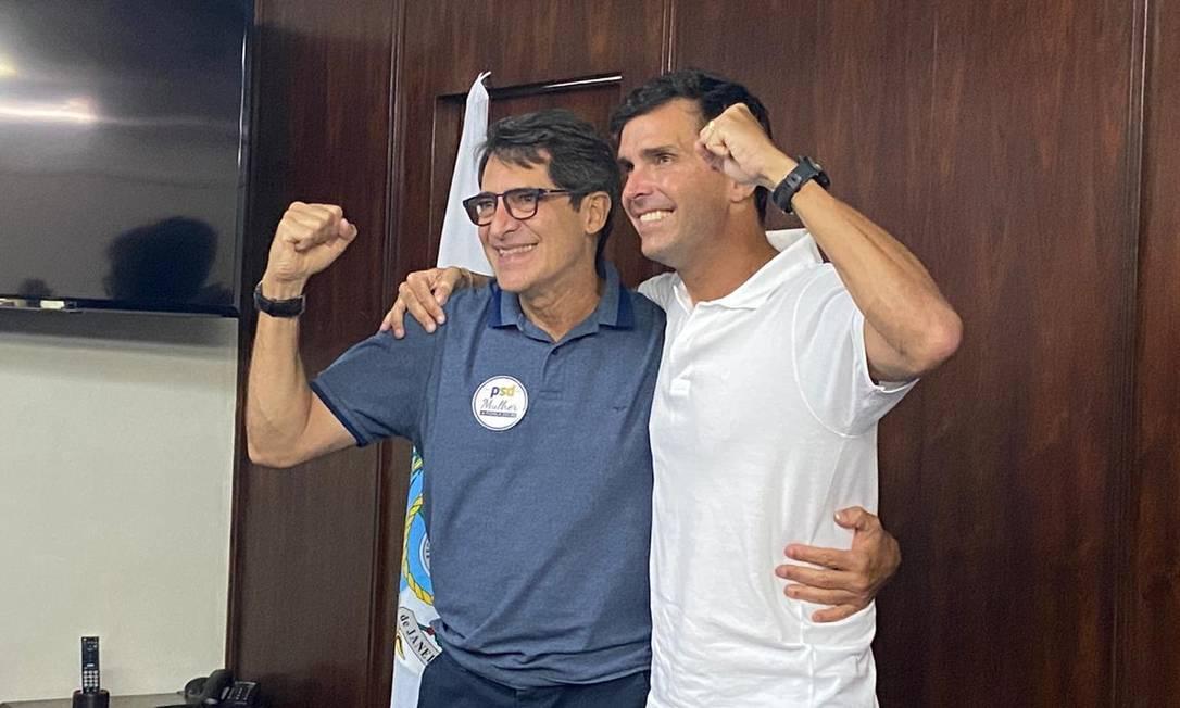 O deputado federal Luiz Lima e Fernando Veloso, após coletiva de imprensa Foto: Gabriela Oliva