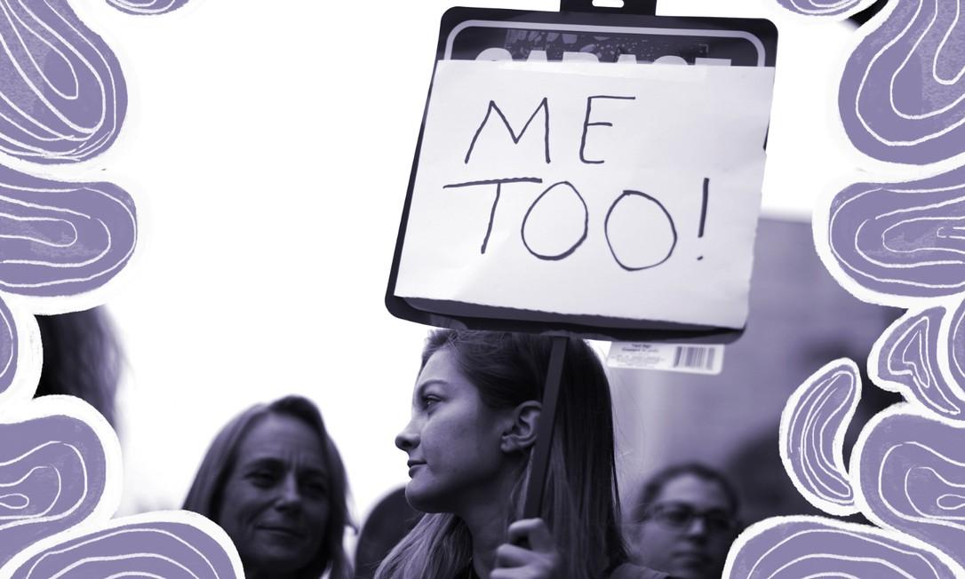Mulheres participam de protesto em apoio ao movimento MeToo, em 2017, na Califórnia, EUA Foto: Lucy Nicholson / Arte sobre foto