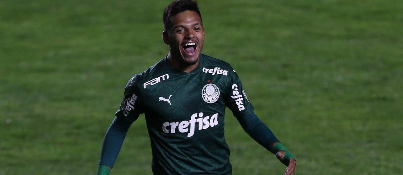Gabriel Menino comemora o gol do Palmeiras sobre o Bolívar Foto: Cesar Greco/Palmeiras