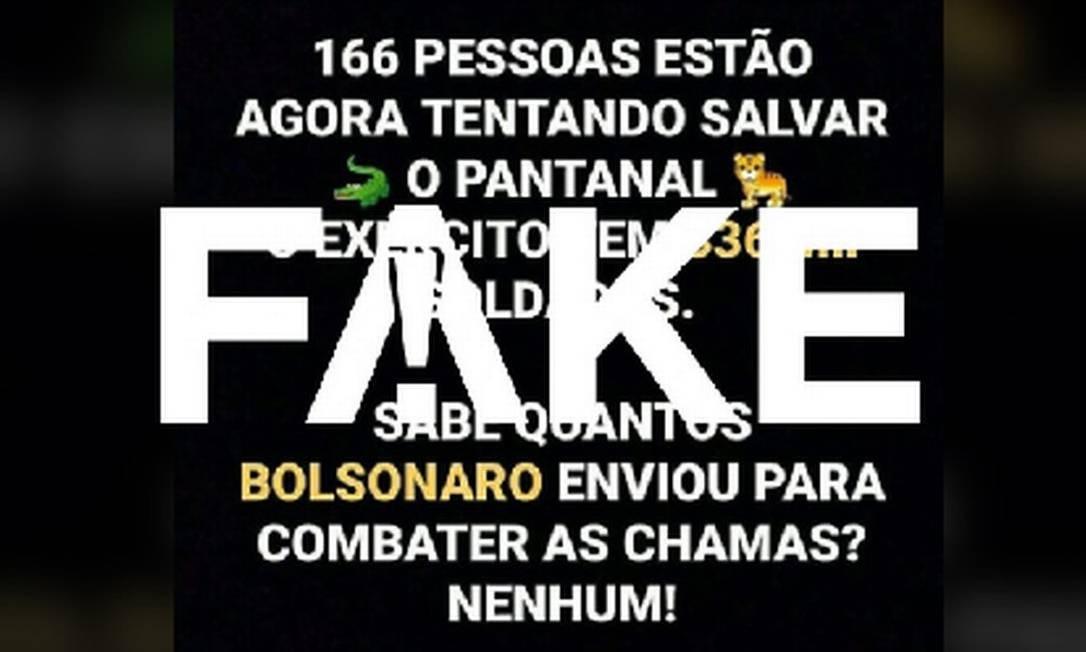É #FAKE que nenhum militar foi enviado para ajudar no combate ao fogo no Pantanal Foto: Reprodução