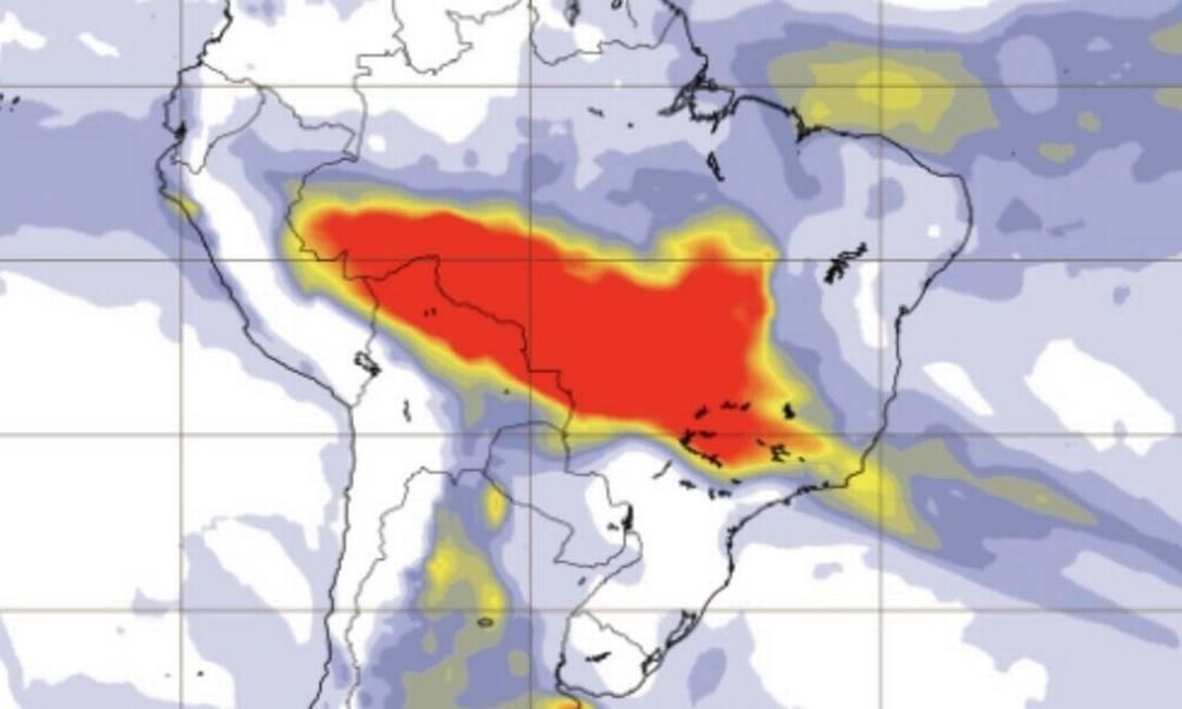 Modelo mostra dispersão atmosférica de aerossóis Foto: Copernicus/MetSul/Divulgação