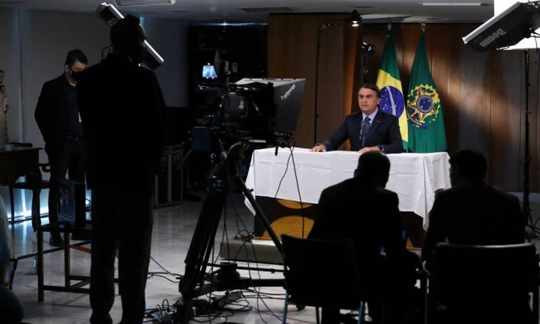 Bolsonaro durante gravação da mensagem para a abertura da Assembleia Geral da ONU Foto: Presidência da República - 16-9-2020