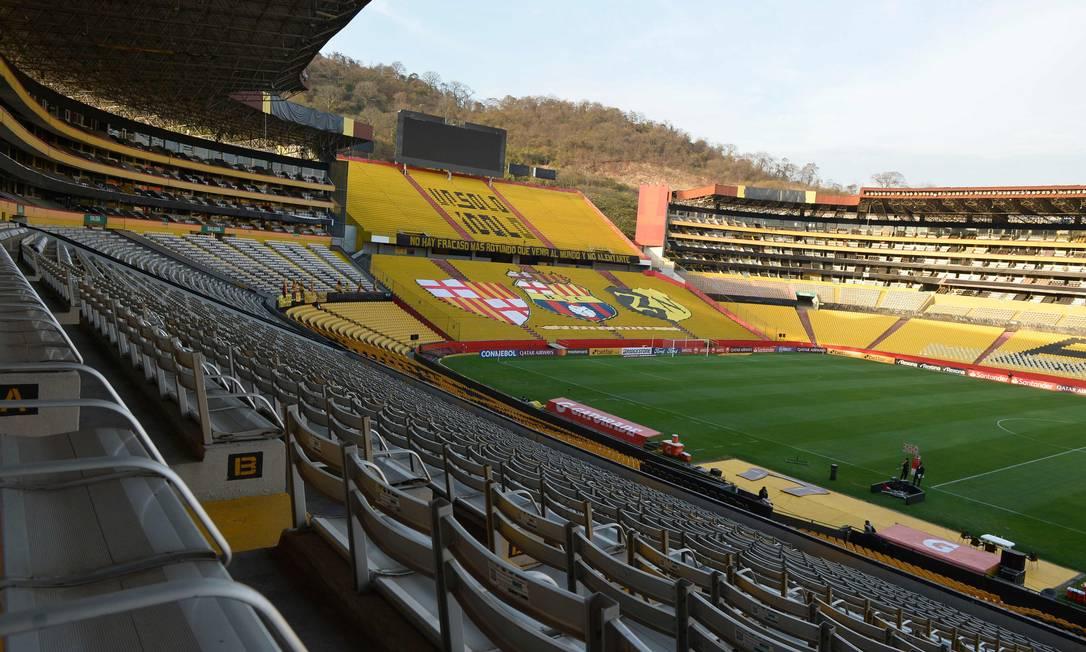 Estádio Monumental, do Barcelona-EQU, está interditado pela prefeitura de Guayaquil Foto: RODRIGO BUENDIA / AFP