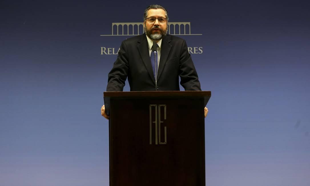 O ministro das Relações Exteriores, Ernesto Araújo, durante entrevista coletiva para apresentar detalhes do acordo Mercosul-União Europeia. Foto: Marcelo Camargo