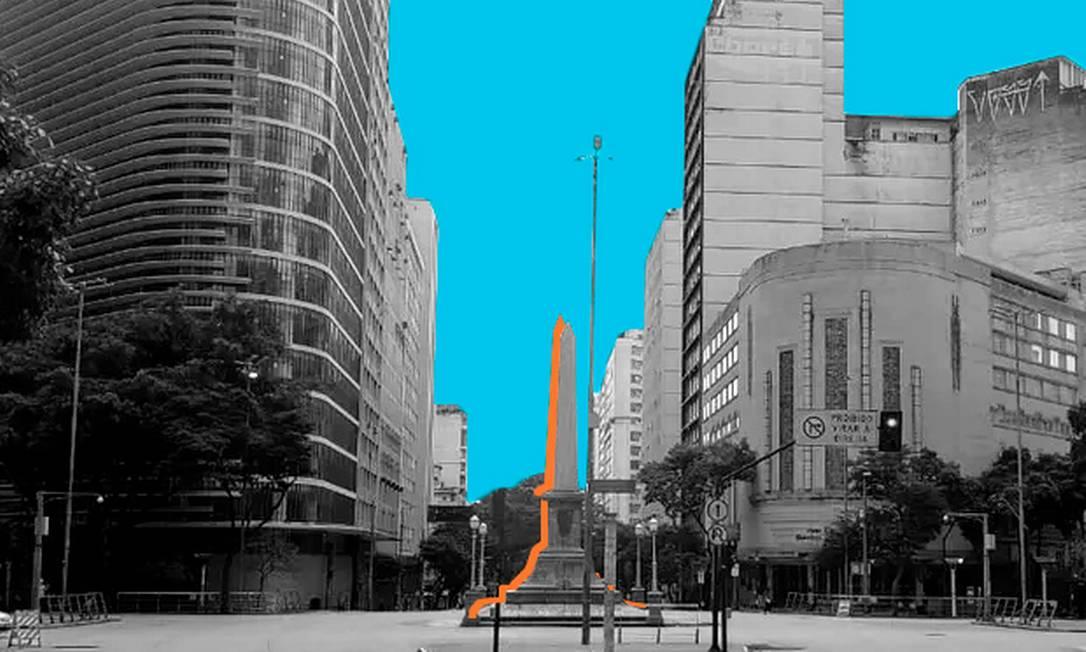 Obelisco da praça Sete de Setembro, em Belo Horizonte. Foto: Editoria de Arte