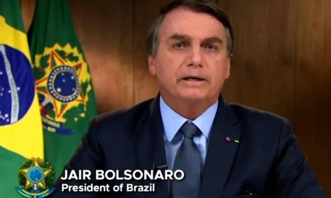 Bolsonaro durante discurso gravado para a Assembleia Nacional da Organização das Nações Unidas Foto: Reprodução