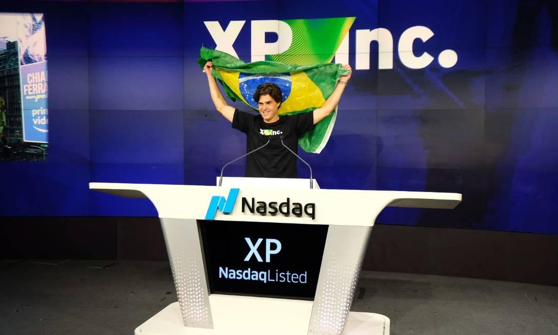 O sócio-fundador da XP, Guilherme Benchimol, ao abrir o pregão da Nasdaq no dia do lançamento da negociação das ações da empresa em Wall Street Foto: Divulgação