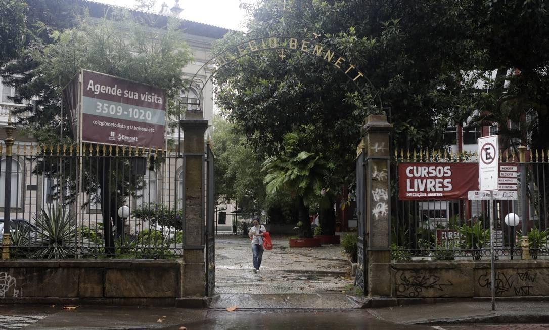 Tradição: Fachada do Colégio Bennett, que fechará as portas no fim do ano Foto: Luiza Moraes / Agência O Globo