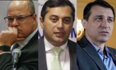 Witzel, Lima e Moisés: governadores alvos recentes de impeachment Foto: Agência O Globo e Divulgação