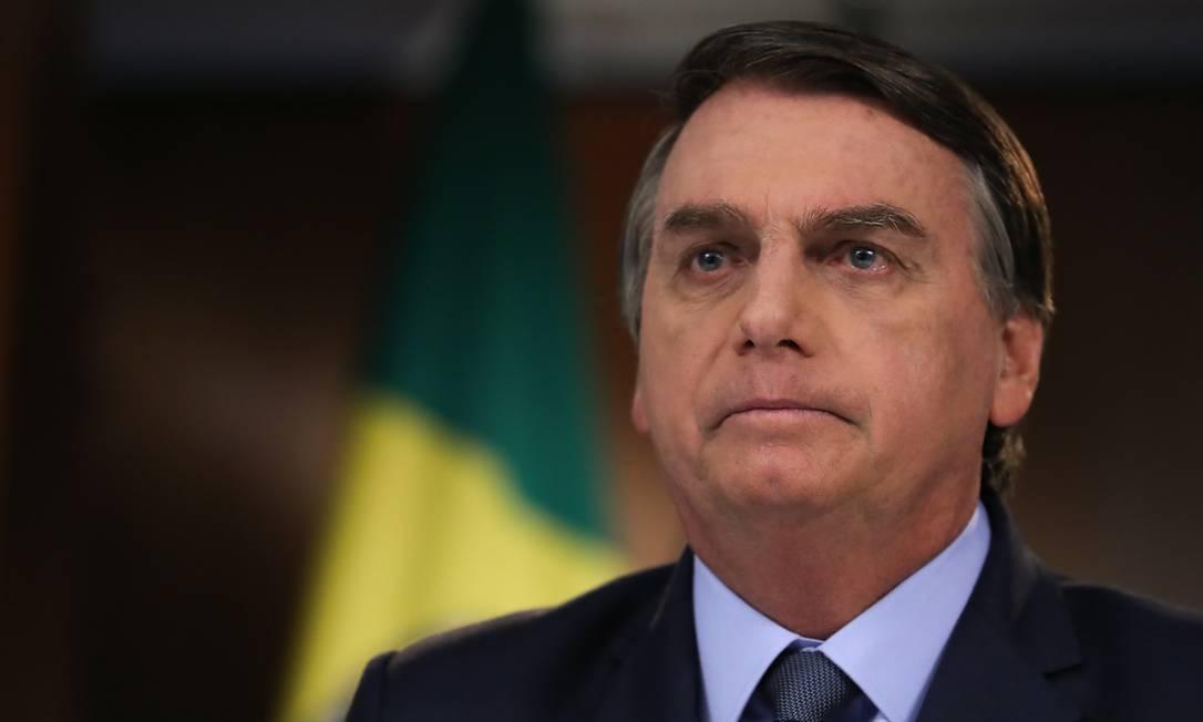 O presidente Jair Bolsonaro na gravação do discurso para Assembléia da ONU Foto: Marcos Corrêa/PR