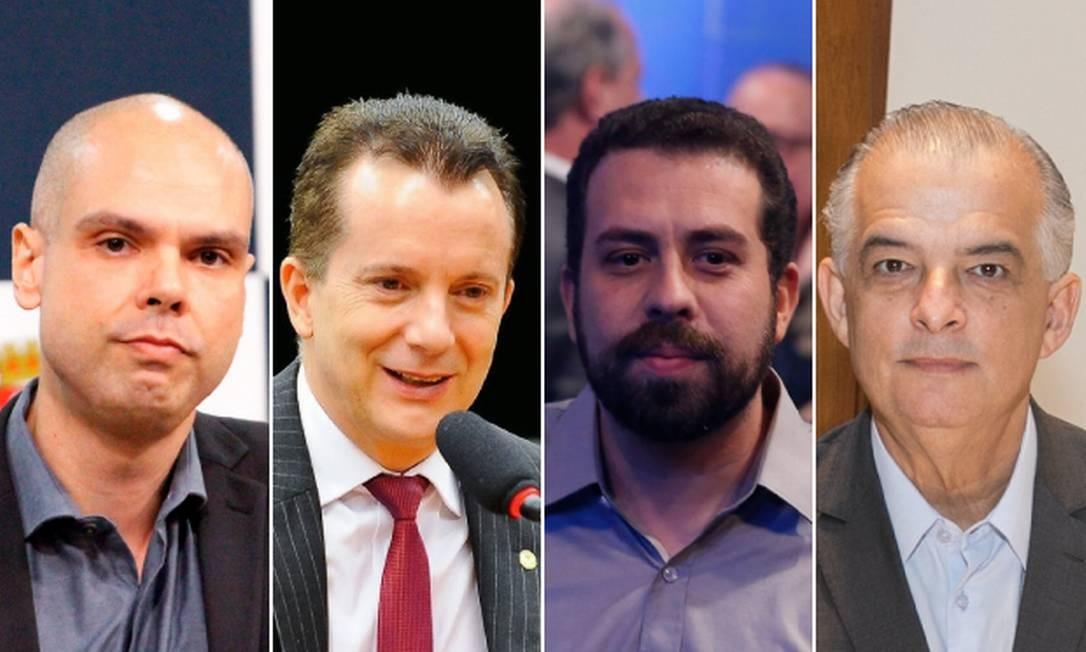 Os candidatos à prefeitura de São Paulo: Bruno Covas, Celso Russomanno, Guilherme Boulos e Márcio França Foto: Arquivo O GLOBO