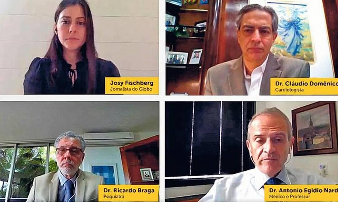 A jornalista Josy Fischberg, do GLOBO, mediou a debate com três especialistas no tema Foto: Reprodução