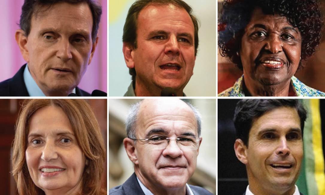 Candidatos à prefeitura do Rio: Crivella, Paes, Benedita, Martha Rocha, Bandeira de Mello e Luiz Lima Foto: Arquivo
