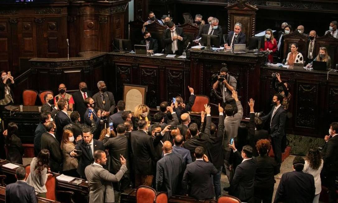 Sessão decisiva. Alerj vota relatório que abre processo de impeachment de Witzel por crime de responsabilidade Foto: Brenno Carvalho em 23-9-2020 / Agência O GLOBO