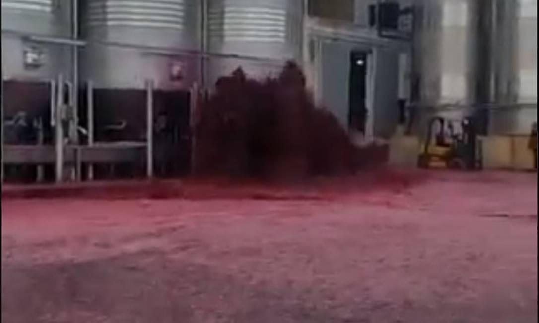 Vazamento ocorreu na vinícola Bodegas Vitivinos, em Villamalea, na Espanha Foto: Reprodução/Redes Sociais/ Radio Albacete