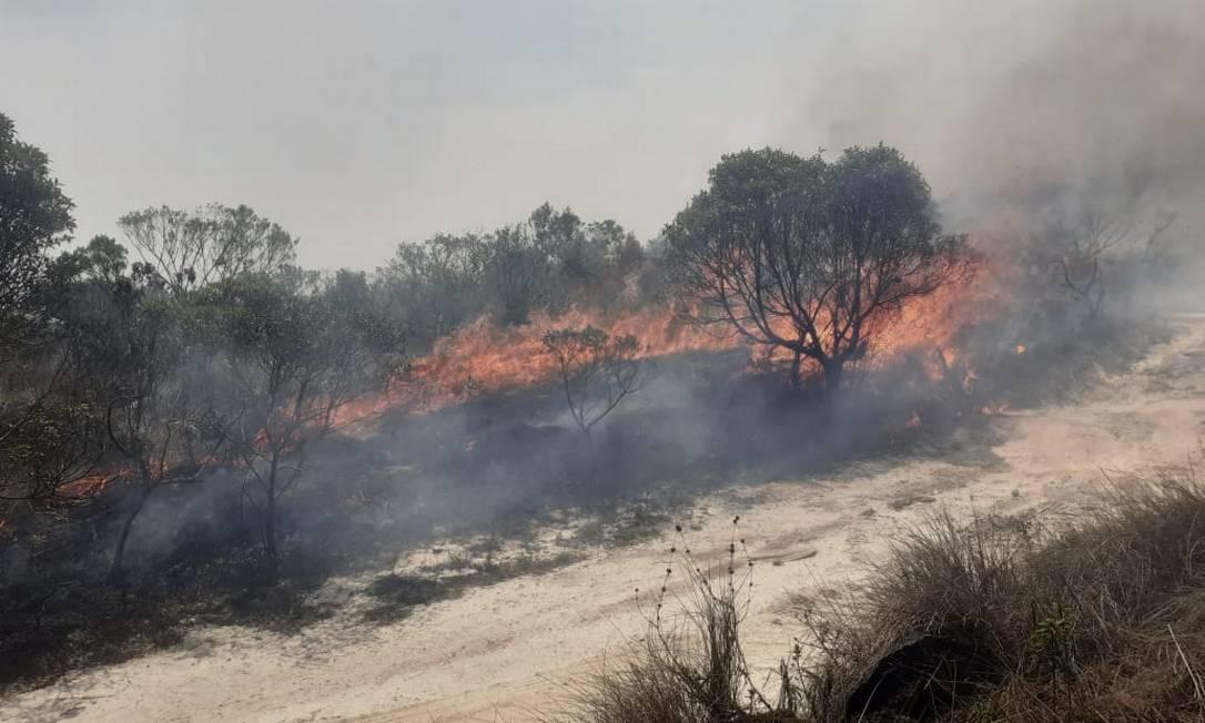 Incêndio no Parque Estadual de Ibitipoca (MG) Foto: Gabriel Fortes