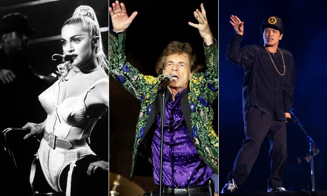 Madonna, Rolling Stones e Bruno Mars são alguns dos artistas que nunca tocaram na edição carioca do Rock in Rio Foto: Time Life Pictures / Reuters / Agência O Globo