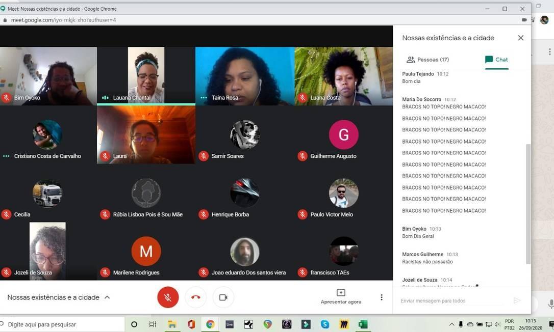 Candidatas negras foram vítimas de racismo em plenária virtual: 'Brancos no topo! Negro macaco' Foto: Arquivo pessoal