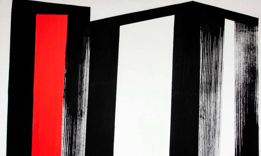 Acrílica sobre tela de Amilcar de Castro presente na mostra: artista definia seus desenhos como 'poesia no espaço' Foto: Divulgação