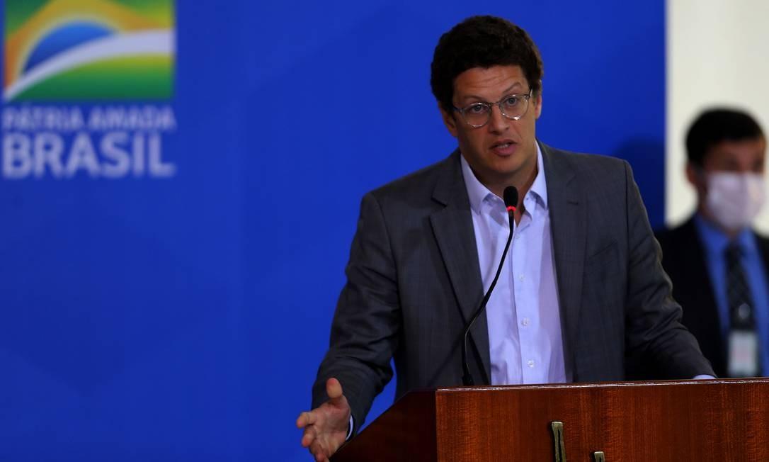 Ministro do Meio Ambiente, Ricardo Salles, durante cerimônia de sanção da lei Foto: Jorge William / Agência O Globo