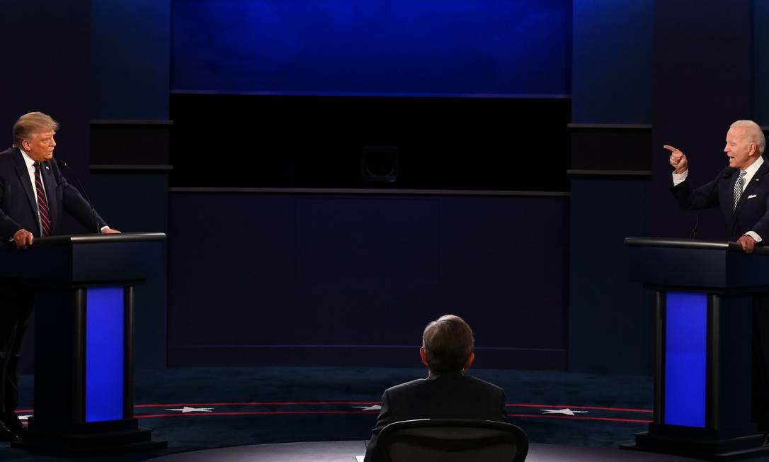 Donald Trump e Joe Biden fazem o primeiro debate presidencial da eleição nos EUA Foto: JIM WATSON / AFP