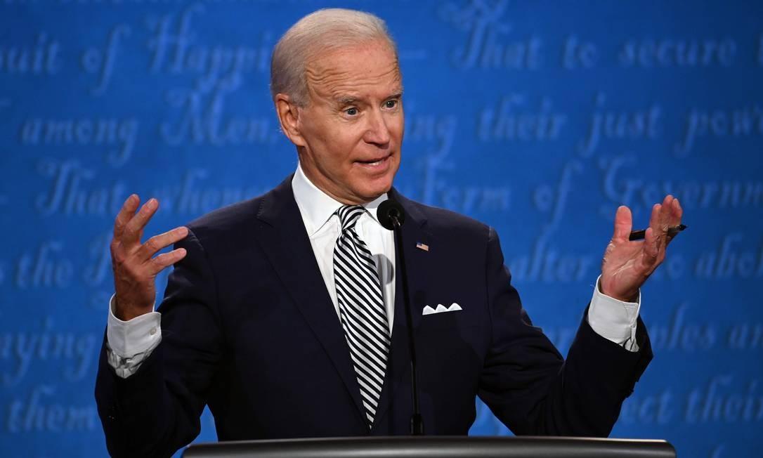 Joe Biden, candidato democrata à Casa Branca, durante o primeiro debate com Donald Trump Foto: JIM WATSON / AFP