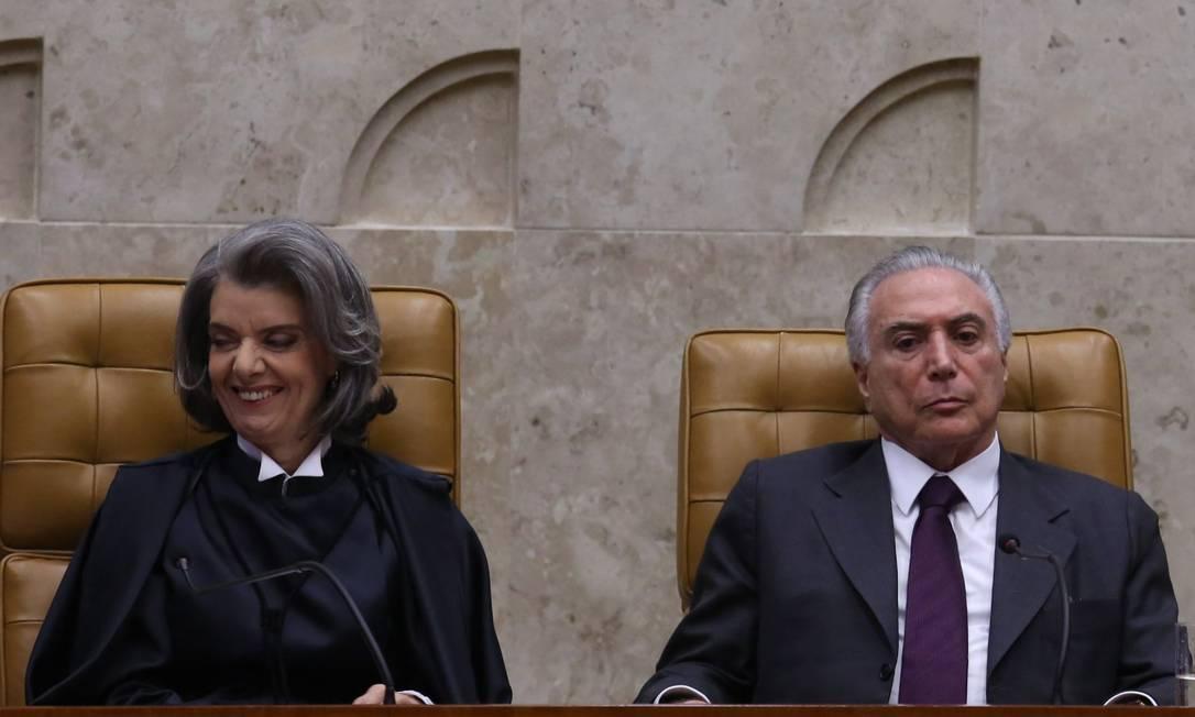 Ministra Carmen Lucia foi eleita presidente do STF durante o mandato de Michel Temer. Ela foi a segunda indicação do ex-presidente Lula ao Supremo Foto: André Coelho / Agência O Globo - 12/09/2016