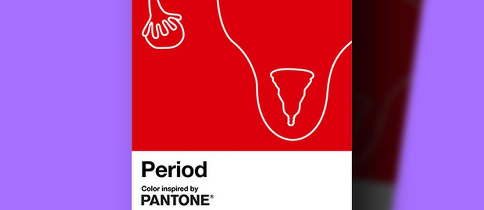 Sem tabu: novo tom de vermelho vivo da Pantone foi batizado de 'Period' para promover relação positiva com o período menstrual Foto: Reprodução/Pantone