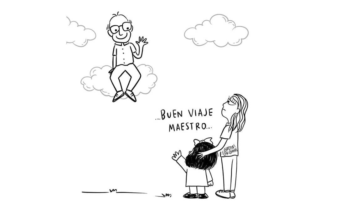 """""""Boa viagem, mestre"""", despede-se Mafalda na tirinha da colombiana Angie Mansur, criadora da tirinha Gretta Con Ganas Foto: Reprodução / Instagram"""