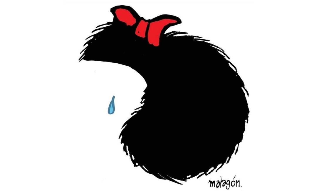 O desenho minimalista assinado por Matagón mostra a personagem mais famosa de Quino chorando pela morte do seu criador Foto: Reprodução / Instagram