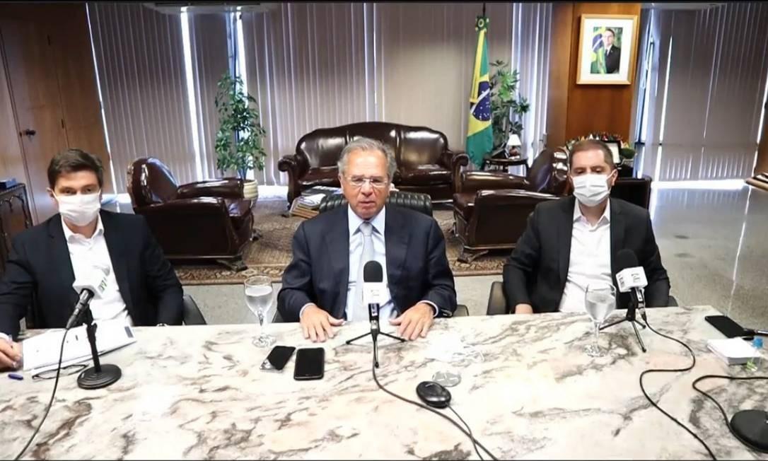 O ministro da Economia, Paulo Guedes, fala sobre o resultado do Caged Foto: Reprodução