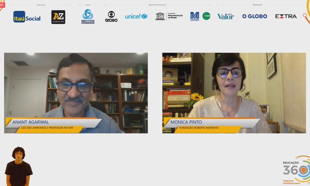 Anant Agarwal, CEO da plataforma de cursos online edX e professor do MIT, e Monica Pinto, da Fundação Roberto Marinho Foto: Reprodução