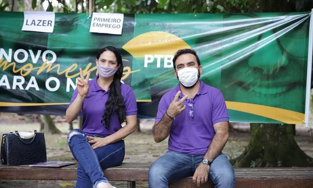 O candidato a prefeito Adamor Dias Bitencourt e sua vice Milena Pompeu Foto: Reprodução