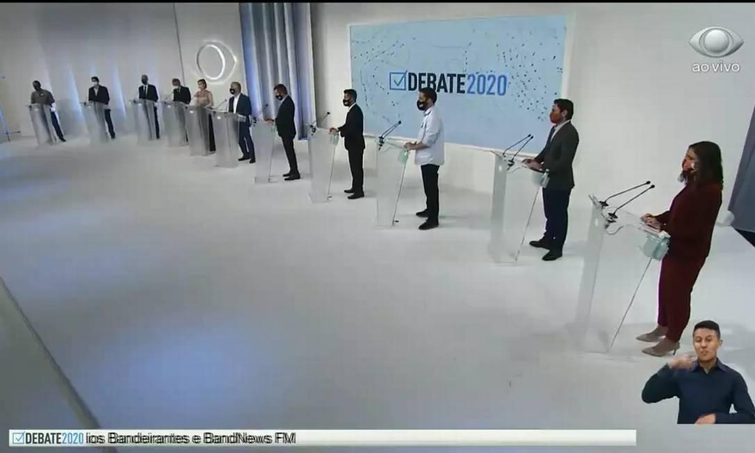 Candidatos no primeiro debate da eleição para a prefeitura de São Paulo realizado pela TV Bandeirantes Foto: Reprodução