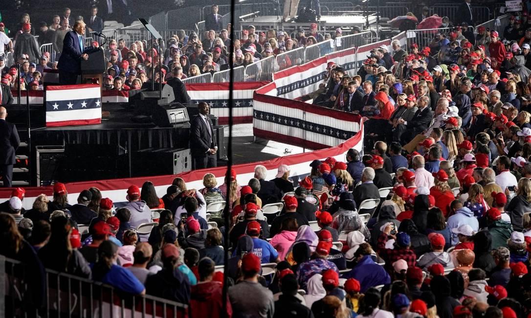 Trump em comício em Middletown, Pensilvânia: presidente dos EUA contraiu Covid-19 Foto: JOSHUA ROBERTS / REUTERS/26-9-2020