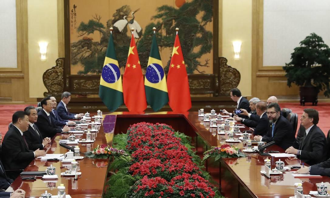 Encontro das cúpulas brasileira e chinesa em Pequim em 2019 Foto: Pool / Getty Images