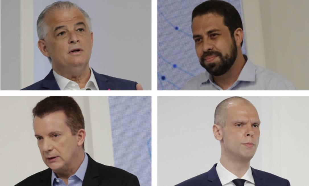 Os candidatos à Prefeitura de SP Bruno Covas, Celso Russomanno, Guilherme Boulos e Márcio França Foto: Divulgação