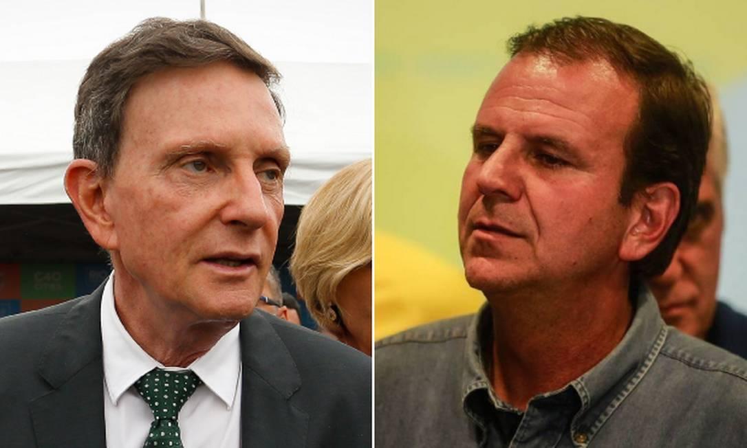 Os candidatos à Prefeitura do Rio Eduardo Paes (DEM) e Marcelo Crivella (Republicanos) Foto: Arquivo O Globo