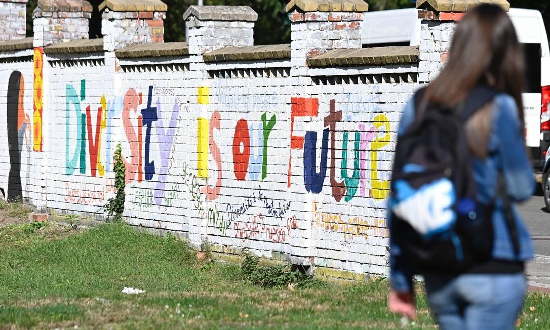 """""""Diversidade é nosso futuro"""", diz frase em muro em parque da cidade de Neuruppin, no Leste da Alemanha, onde a AfD é forte, mas que se ofereceu para receber mais refugiados da Grécia Foto: TOBIAS SCHWARZ / AFP/18-9-2020"""